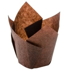 Tulip Muffin Wrap Brown (60mm high x 30mm base) P250