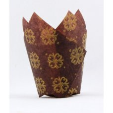 Tulip Muffin Wrap Gold Printed Brown (60mmx 30mm) P250