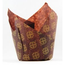 Tulip Muffin Wrap Gold Printed Brown (90mmx 60mm) P250