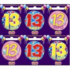 Age #13 (SB013) Badge 6 pcs