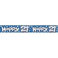 Happy 21st Blue (QAH015M) 2.6m Banner P1