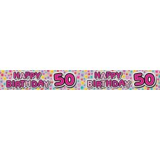 Happy 50th Pink (QAH019F) 2.6m Banner P1