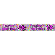Happy 18th Pink (QAH012F) 2.6m Banner P1