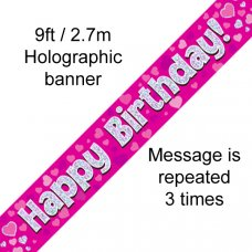 Pink Holographic Happy Birthday Banner 2.7m P1