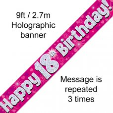 Pink Holographic Happy 18th Birthday Banner 2.7m P1