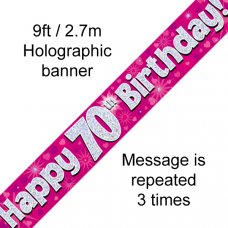 Pink Holographic Happy 70th Birthday Banner 2.7m P1