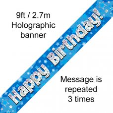 Blue Holographic Happy Birthday Banner 2.7m P1
