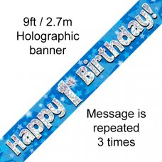 Blue Holographic Happy 1st Birthday Banner 2.7m P1