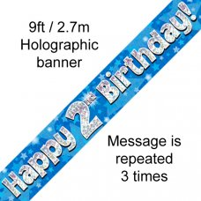 Blue Holographic Happy 2nd Birthday Banner 2.7m P1