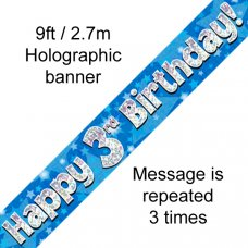 Blue Holographic Happy 3rd Birthday Banner 2.7m P1
