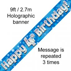 Blue Holographic Happy 4th Birthday Banner 2.7m P1