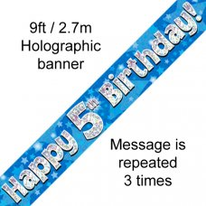 Blue Holographic Happy 5th Birthday Banner 2.7m P1