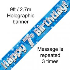 Blue Holographic Happy 7th Birthday Banner 2.7m P1