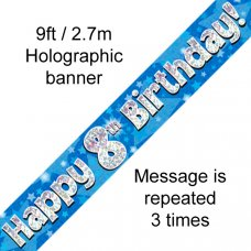Blue Holographic Happy 8th Birthday Banner 2.7m P1
