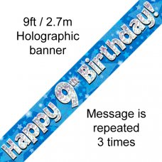 Blue Holographic Happy 9th Birthday Banner 2.7m P1