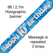 Blue Holographic Happy 10th Birthday Banner 2.7m P1