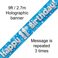 Blue Holographic Happy 11th Birthday Banner 2.7m P1