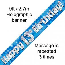 Blue Holographic Happy 13th Birthday Banner 2.7m P1