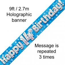 Blue Holographic Happy 14th Birthday Banner 2.7m P1