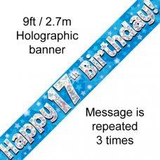 Blue Holographic Happy 17th Birthday Banner 2.7m P1