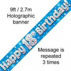 Blue Holographic Happy 18th Birthday Banner 2.7m P1