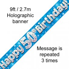 Blue Holographic Happy 50th Birthday Banner 2.7m P1