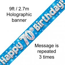 Blue Holographic Happy 70th Birthday Banner 2.7m P1