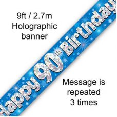 Blue Holographic Happy 90th Birthday Banner 2.7m P1