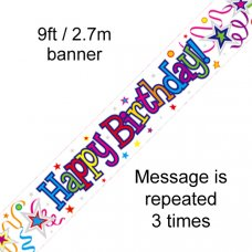 Happy Birthday Ribbons & Stars Banner 2.7m P1