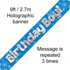 Blue Holographic Birthday Boy Banner 2.7m P1