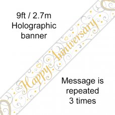 Happy Anniversary Linked Hearts Banner 2.7m P1