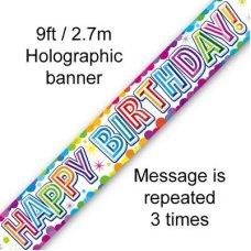 Happy Birthday Colourful Confetti Banner 2.7m P1