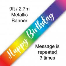 Rainbow Banner 2.7m Happy Birthday P1