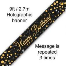 Sparkling Fizz Black & Gold Banner 2.7m Happy Bday P1