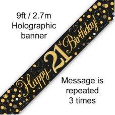Sparkling Fizz Black & Gold Banner 2.7m 21st Bday P1