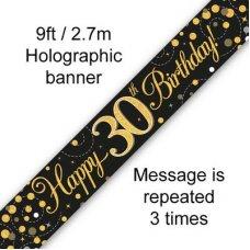 Sparkling Fizz Black & Gold Banner 2.7m 30th Bday P1