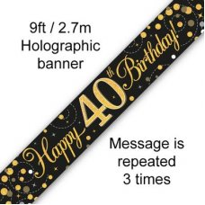 Sparkling Fizz Black & Gold Banner 2.7m 40th Bday P1