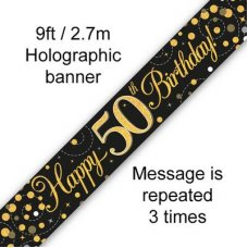 Sparkling Fizz Black & Gold Banner 2.7m 50th Bday P1