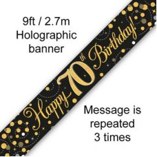 Sparkling Fizz Black & Gold Banner 2.7m 70th Bday P1