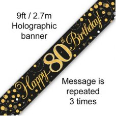 Sparkling Fizz Black & Gold Banner 2.7m 80th Bday P1