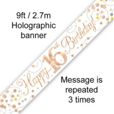 Sparkling Fizz Rose Gold Banner 2.7m 16th Bday P1