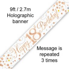 Sparkling Fizz Rose Gold Banner 2.7m 18th Bday P1