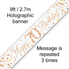 Sparkling Fizz Rose Gold Banner 2.7m 70th Bday P1