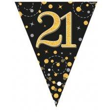 Sparkling Fizz Black & Gold Flag Bunting 3.9m 21 P1