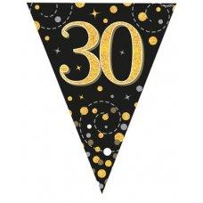 Sparkling Fizz Black & Gold Flag Bunting 3.9m 30 P1