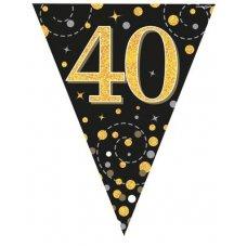 Sparkling Fizz Black & Gold Flag Bunting 3.9m 40 P1