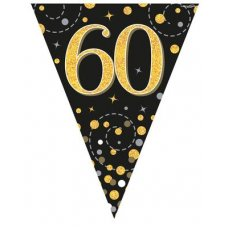 Sparkling Fizz Black & Gold Flag Bunting 3.9m 60 P1