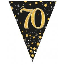 Sparkling Fizz Black & Gold Flag Bunting 3.9m 70 P1