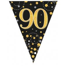 Sparkling Fizz Black & Gold Flag Bunting 3.9m 90 P1