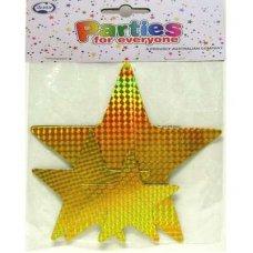 Laser Gold Asstd Size Stars P9